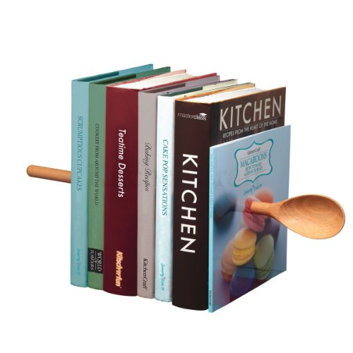 New Kitsch 'n' Fun Magic Wooden Spoon Book Ends Invisible Metal Cook Book Holder