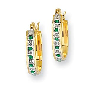 IceCarats Designer Jewelry Sterling Silver Gold-Plated Dia. Emerald Oval Hoop Earrings