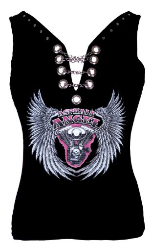 Leather Supreme Lady Biker Asphalt Angel Wings Design Chain Tank Top -Black-Large