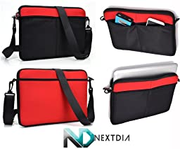 Microsoft Surface Pro 3 Horizontal Messenger Bag with Shoulder Strap for 10 inch Tablet Devices | Black and Ruby Red