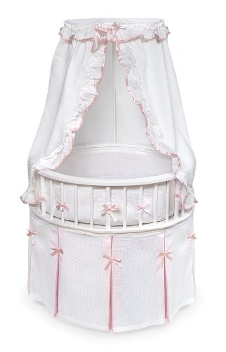 Inspirational Badger Basket White Elegance Round Baby Bassinet with White Waffle and Pink Bedding