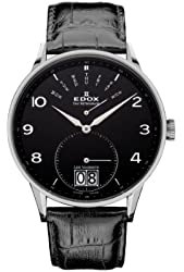 Edox Les Vauberts Black Dial Black Leather Mens Watch 34005-3N-NBN