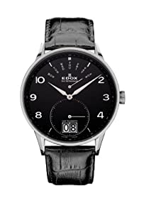 Edox Les Vauberts Black Dial Black Leather Mens Watch 34005-3N-NBN