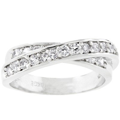 Silver-Tone Cubic Zirconia Criss-Cross Eternity Band Size: 7