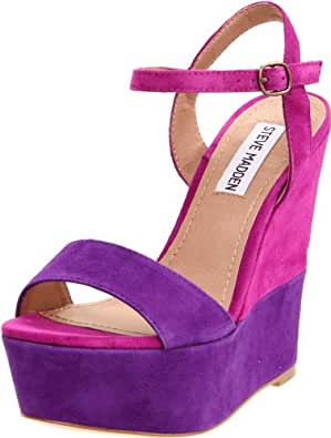 Steve Madden Women's Wimzikul Wedge Sandal,Purple Multi,9.5 M US