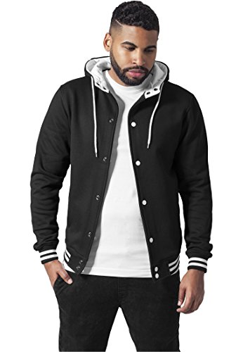 Urban Classics TB288 Hooded College Sweat Jacket Giacca Uomo Regular Fit (Black/White, L)