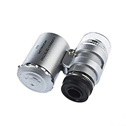 Qunqi 60X Magnifying Magnifier Glasses Jeweler Eye Jewelry Loupe Loop LED Light