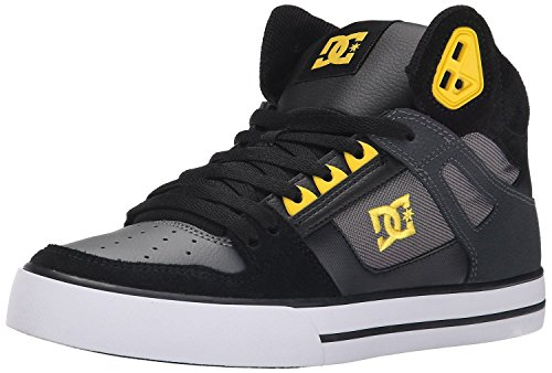 dc-spartan-hi-wc-black-yellow-mens-leather-skate-trainers-shoes-boots-8
