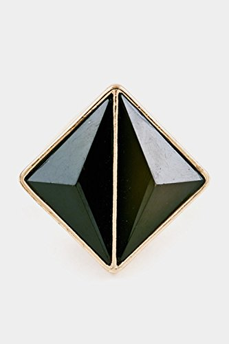 Glitz Finery Faceted Double Triangle Two Tone Stretch Ring (Black)