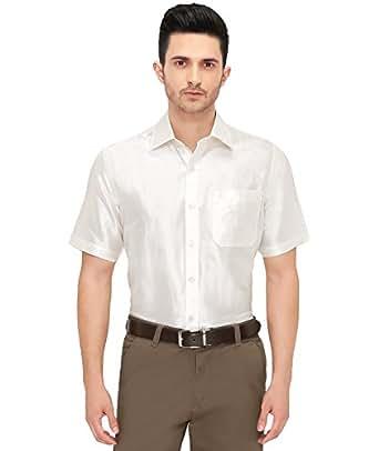 Mens half sleeve shirt 100 silk dupion material shirt for Mens silk shirts amazon