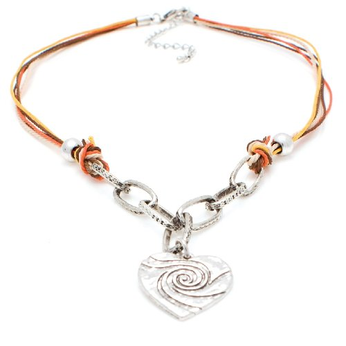 Multiciolour Brown, Yellow & Orange Cord & Silver Heart Nickel-Free Base Metal Necklace, Measures 44cm and Fastens with Lobster Clasp & Extension Chain, Contemporary Heart Pendant Design