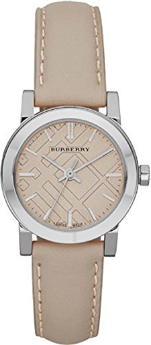 SALE! Authentic Burberry Rare LUXURY SWISS Watch Womens Girl The City Beige Authentic Leather BU9207
