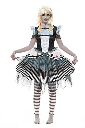 Halloween Adult Zombie Alice Costume Medium (Alice In Wonderland Tights)