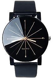 Bessky® Luxury Men's Black Round Dial Clock Leather Strap Quartz Wrist Watch