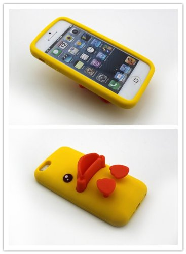 Big Dragonfly High Quality Silicone Super Lovely 3D Duck Design Stand Back Case For Apple Iphone 5/Iphone 5S With Landscape And Portrait Angle (Yellow & Orange) front-712928
