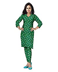 Banjara Women'S Cotton Bandhani Unstitched Dress Material (Rf15 _Green_Free Size)