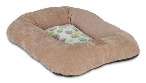 Precision Pet Low Bumper Corduroy Bed, Size 1000, Green Spot Plush Tan