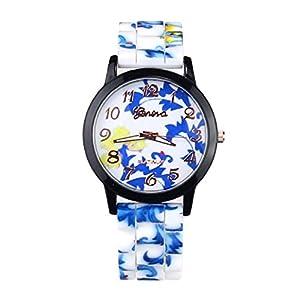 1PC Fashion Women Flower Printing Silicone Watch Quartz Watches Gift