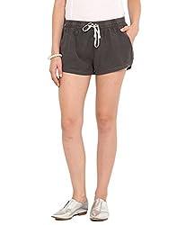 Paprika Black Coloured Viscose Twill Shorts X-Large