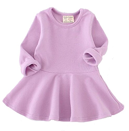 EGELEXY Baby Girls' Long Sleeve Cotton Ruffle Top Dress 18-24Months Purple