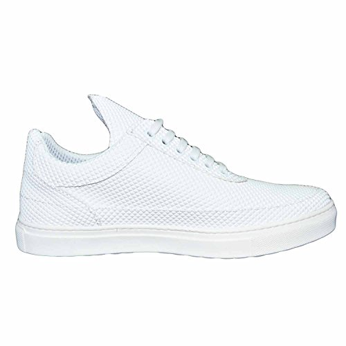 Sneakers bassa uomo scarpe calzature modello phill con dettaglio bianco piramide vera pelle (42)