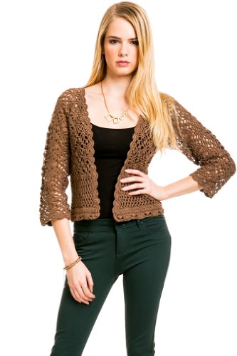 Knit Half Sleeve Cardigan in Brown