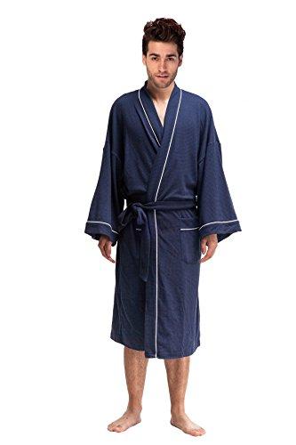 DandyChic Men's Kimono Cotton Robes Lightweight Spa Robe Bathrobes Nightwear- Long (Cool Bath Robes For Men compare prices)