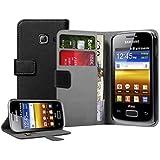 Negra Cartera Funda de Cuero para Samsung S6102 / S6102B Galaxy Y Duos - Flip Case Cover + 2 Protectores de Pantalla