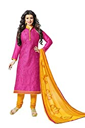 Chandra Enterprises Chanderi Embroidered Dress Material / Churidar Suit for Women(Unstitched)