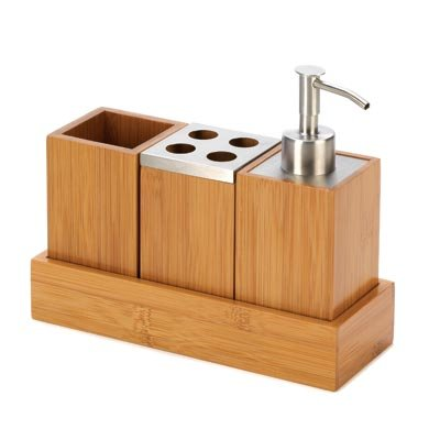 Eco Friendly Kyoto Bamboo Bath Set Trio Soap Pump Caddy