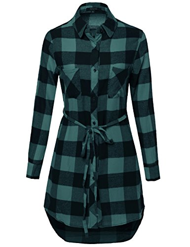 Super Cute Flannel Plaid Checker Shirts Dress with Belt Navy Green S Size