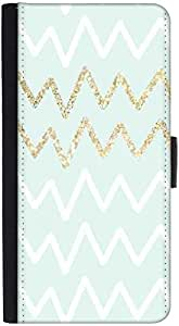 Snoogg Wavular Graphic Snap On Hard Back Leather + Pc Flip Cover Htc M8
