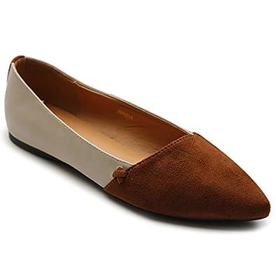 0f1e9f7af722 Ollio Womens Shoe Ballet Light Faux Suede Low Heels Flat