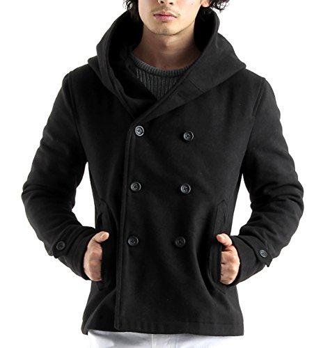 (バレッタ) Valletta ビッグフードメルトンウールPジャケット Pコート ピーコート コート ミドル丈 メンズ Lサイズ ブラック