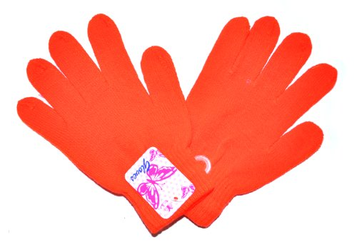 Neon Bright Colour Knitted Woolly Winter Gloves (Orange) front-64853