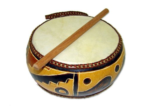 Beautiful Fire Burned Double Sided Gourd Drum 6""