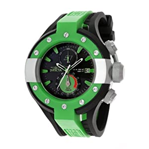 Invicta Men's 13064 S1 Rally Chronograph Black Dial Black and Green Polyurethane Watch