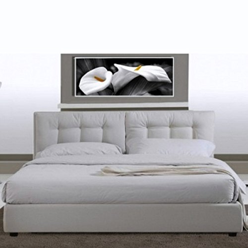 Letto matrimoniale 220x174 in ecopelle bianco moderno a due piazze con rete a doghe
