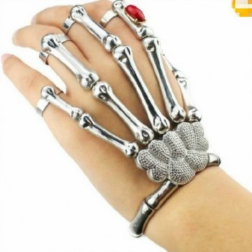 Silver Cool Punk Rock Skeleton Skull Hand Bone Ring Bracelet