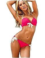 Demarkt Fashion Maillot de Bain pour les Femmes/ Swimwear Bustier Push Up Deux Pieces Bikini/ Couleur Rose/ Taille S/M/L