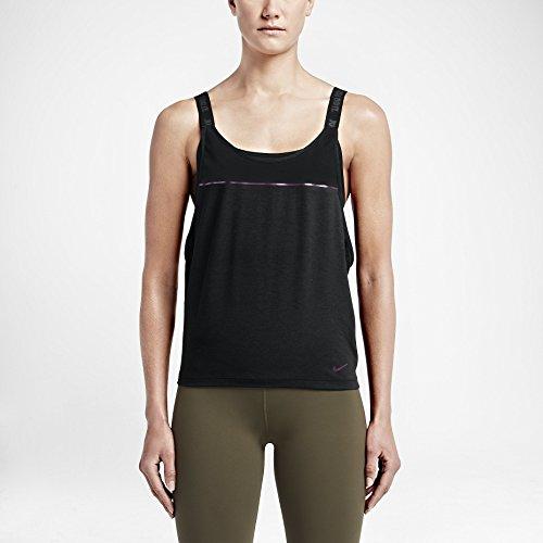 Nike Women's Dri-Fit Woven 2-in-1 Training Sports Top-Black-Small