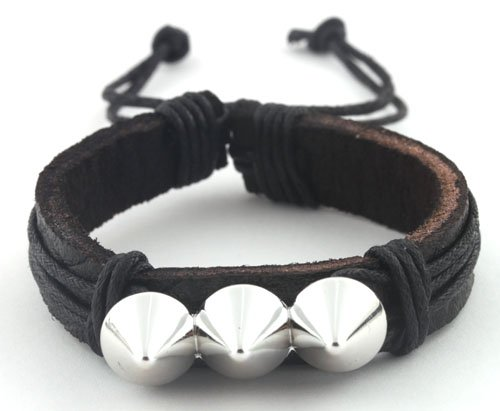 Black with Silver Three Spikes String Adjustable Stretch Bracelet