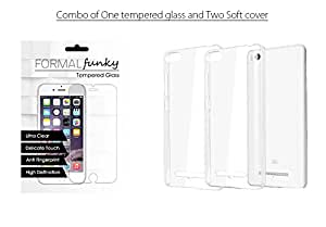 Huawei Honor Holly Combo of Soft Silicone Cover and Premium Transparent Tempered glass (Two Cover and One Tempered Glass)
