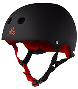 Triple 8 Brainsaver Rubber Helmet with Sweatsaver Liner (Black/Red, Medium)
