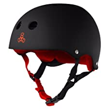Triple 8 Brainsaver Rubber Helmet with Sweatsaver Liner (Black/Red, Large)