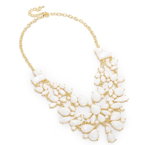 Fashion Gold Chain White Water Drop Resin Beads Hollow Pendant Statement Necklace