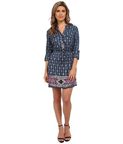 Angie Junior's Border Print Prussian Blue Shirtdress, Blue, Medium