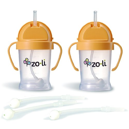 Zoli BOT Sippy Cups - Orange (2 Pack) WITH 3 BOT Replacement Straws. - 1