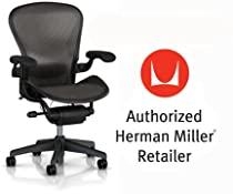 Hot Sale Herman Miller Aeron Chair Highly Adjustable with Lumbar Support Pad with Translucent H9 Hard Floor Casters - Large Size (C) Graphite Dark Frame, Classic Dark Carbon Pellicle Mesh Home Office Desk Task Chair