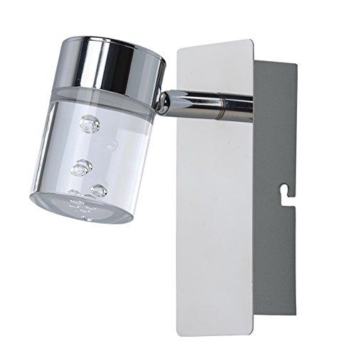 Applique spot style classique, moderne, armature en métal couleur chrome, plafonnier en acryl matté, 1 ampoule incl. 1 x 5W LED 12V